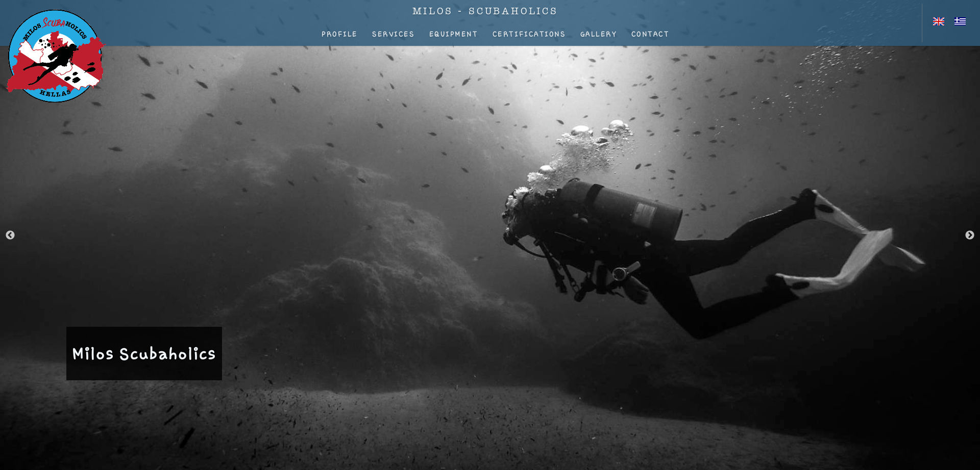 Screenshot of scubaholics.gr